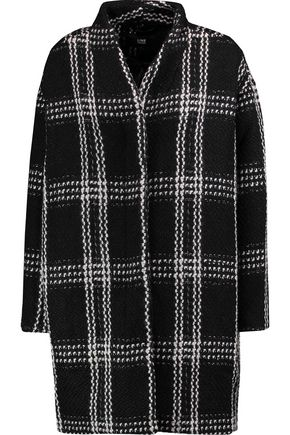 LINE Checked chunky-knit coat