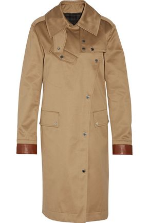 BELSTAFF Riders leather-trimmed cotton-gaberdine trench coat
