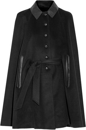 BELSTAFF Marley leather-trimmed belted wool and cashmere-blend felt cape