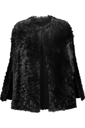 KARL DONOGHUE Alpine leather-trimmed shearling cape