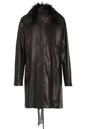 HELMUT LANG Faux fur-trimmed leather coat