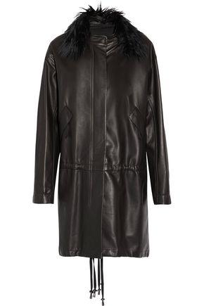 HELMUT LANG Faux fur-trimmed leather coat