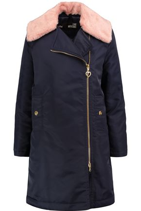 LOVE MOSCHINO Faux fur-trimmed satin-twill coat