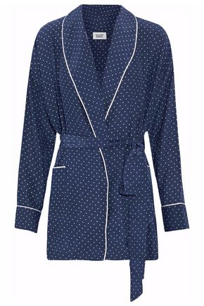 Sleepy Jones WOMAN PRINTED SILK ROBE NAVY