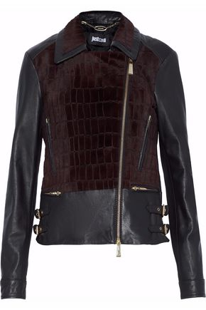 JUST CAVALLI Faux fur-paneled leather biker jacket