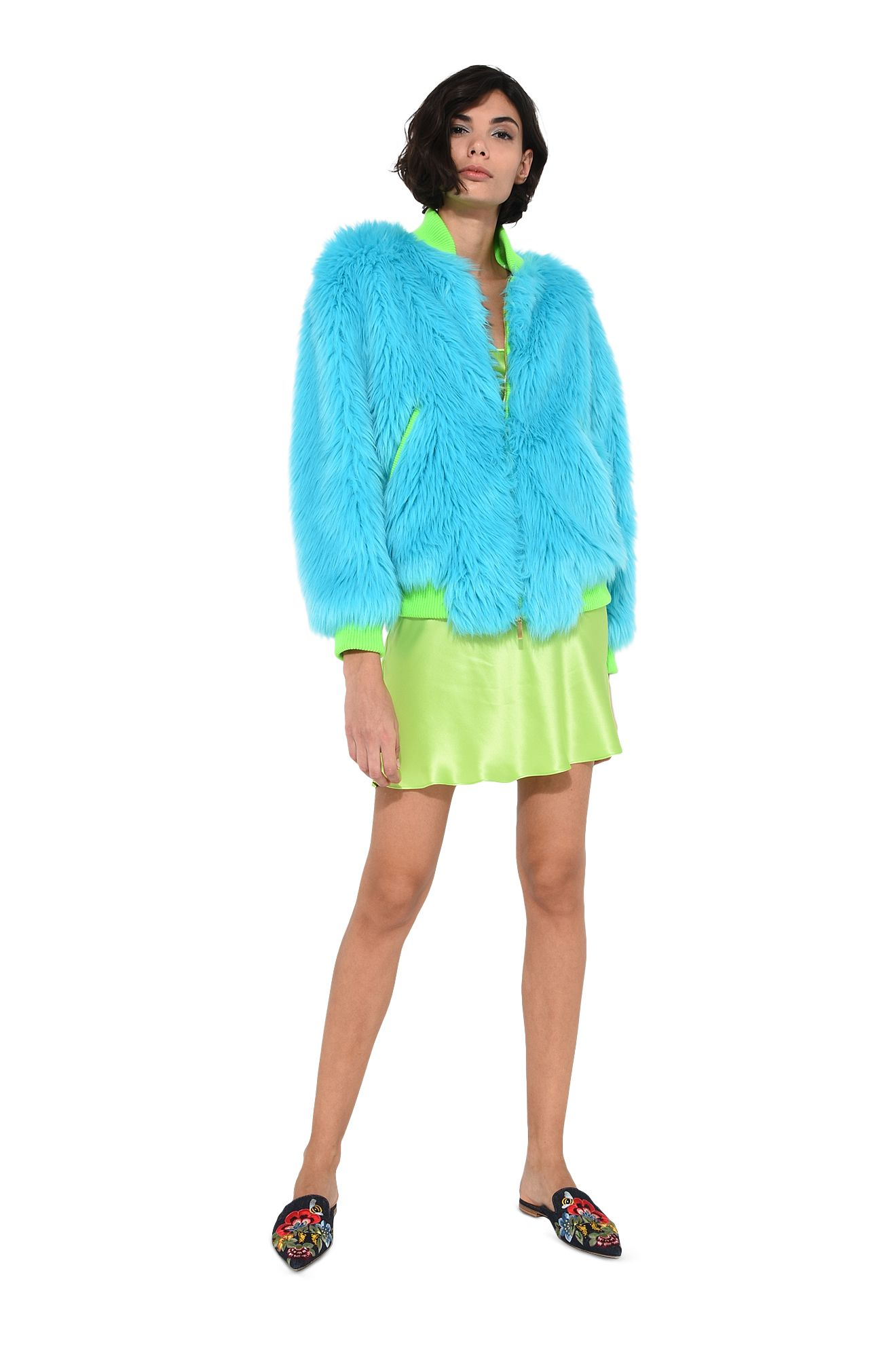 Faux fur fluo bomber jacket
