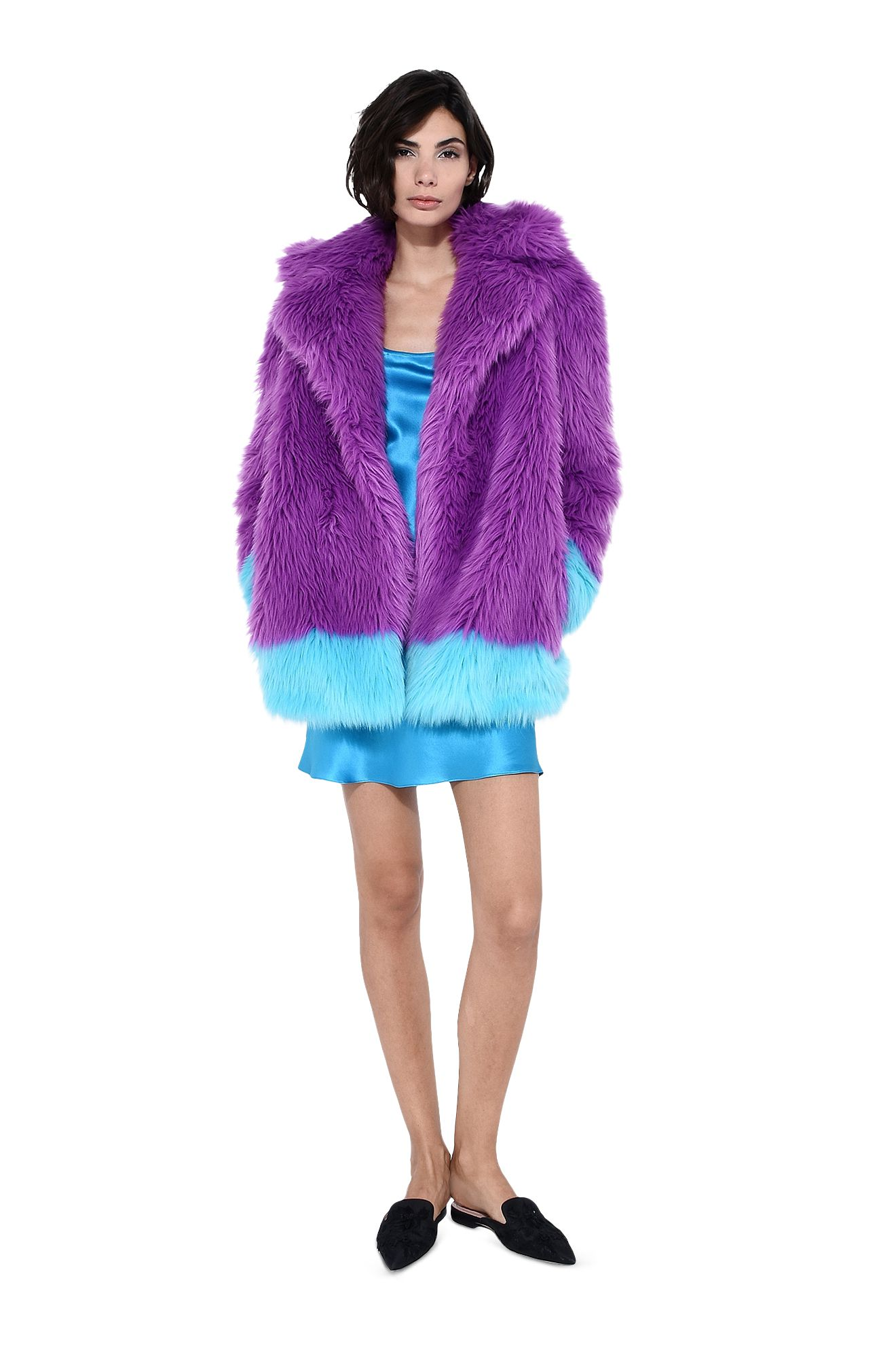 Faux fur fluo purple and light blue coat