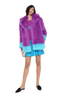 ALBERTA FERRETTI Faux fur fluo purple and light blue coat Fur Woman a