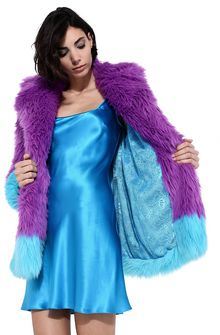 ALBERTA FERRETTI Faux fur fluo purple and light blue coat Fur Woman d