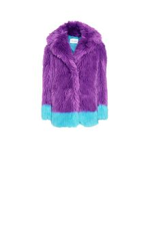 ALBERTA FERRETTI Faux fur fluo purple and light blue coat Fur Woman e