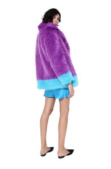 ALBERTA FERRETTI Faux fur fluo purple and light blue coat Fur Woman r
