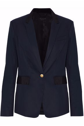 RAG & BONE Grosgrain-trimmed cotton-twill blazer