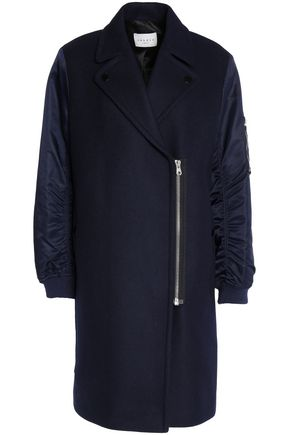 SANDRO Shell-paneled wool coat