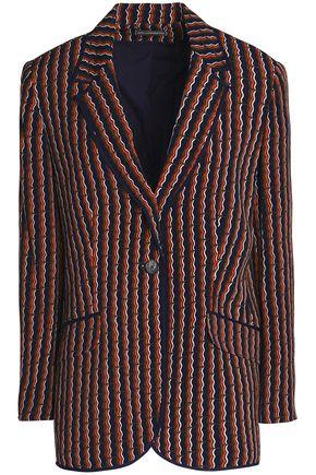 DIANE VON FURSTENBERG Satin-trimmed printed crepe blazer