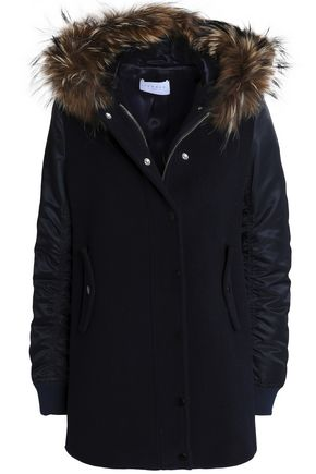 SANDRO Wool-blend hooded jacket