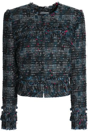 DIANE VON FURSTENBERG Fringed bouclé-tweed jacket