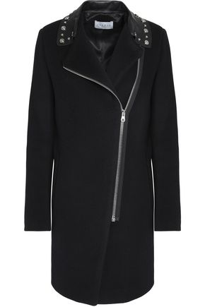 SANDRO Paris Studded leather-trimmed wool-blend coat