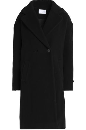 SANDRO Double-breasted boiled wool-blend coat