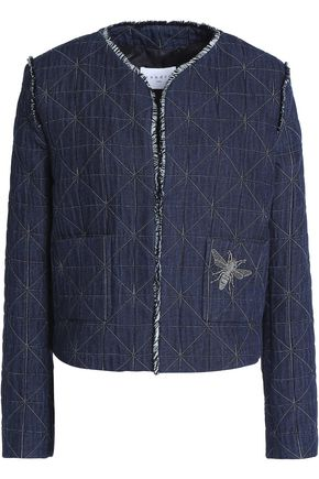 SANDRO Quilted appliquéd cotton-blend jacket