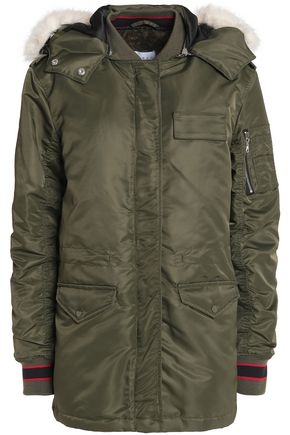 SANDRO Paris Faux fur-trimmed shell hooded jacket