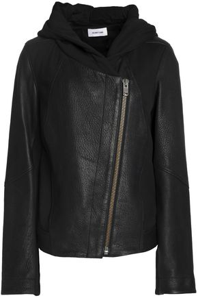 HELMUT LANG Cotton jersey-paneled textured-leather jacket