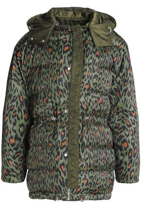 SANDRO Leopard-print quilted shell hooded coat