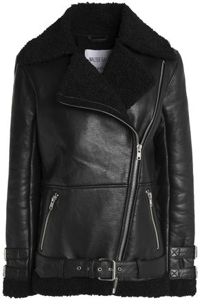 W118 by WALTER BAKER Faux shearling-trimmed leather jacket