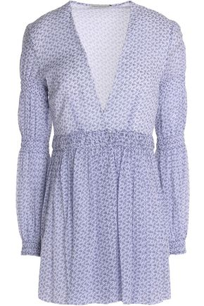 EMILIA WICKSTEAD Smocked floral-print cotton top