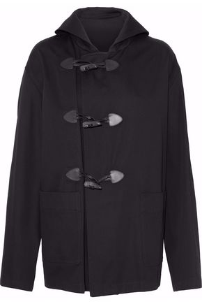 MAISON MARGIELA Leather-trimmed cotton-twill coat
