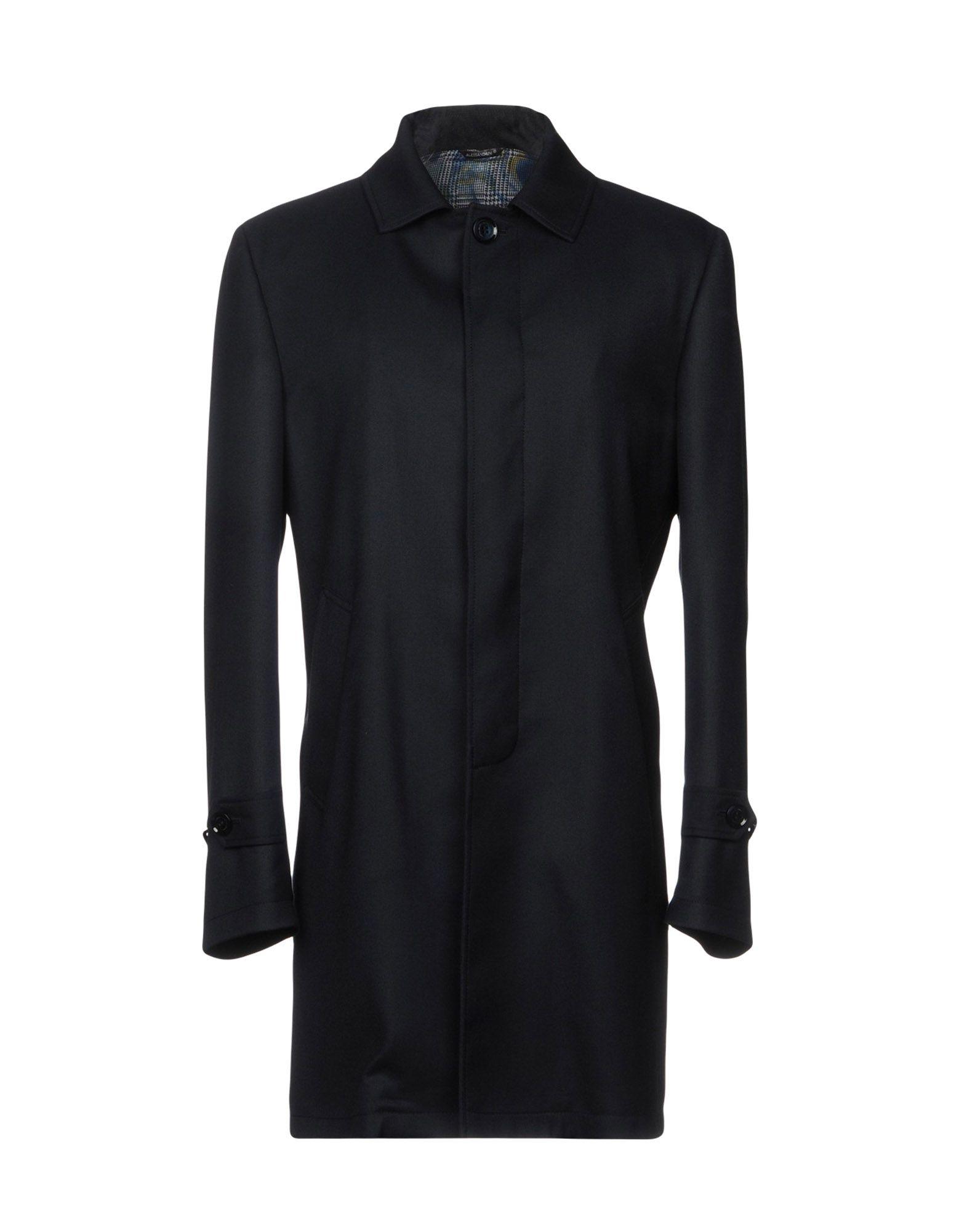 GREY DANIELE ALESSANDRINI Overcoats in Dark Blue