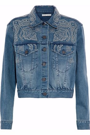 ALICE+OLIVIA Chloe studded denim jacket