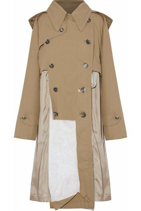 MAISON MARGIELA Distressed paneled cotton-twill hooded trench coat