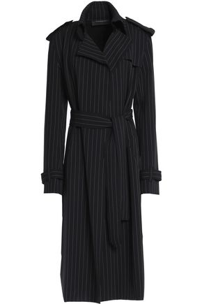 NORMA KAMALI Pinstriped stretch-knit coat