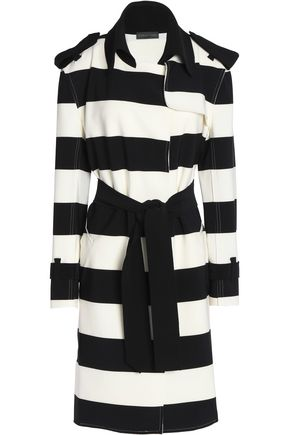 NORMA KAMALI Striped stretch-cady trench coat