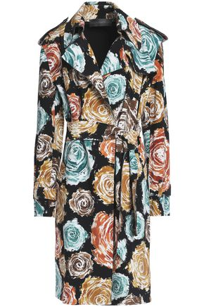 NORMA KAMALI Belted floral-print stretch-cady jacket