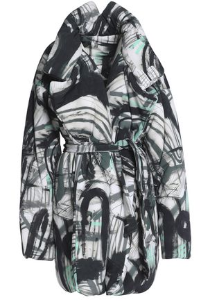 NORMA KAMALI Belted printed shell coat