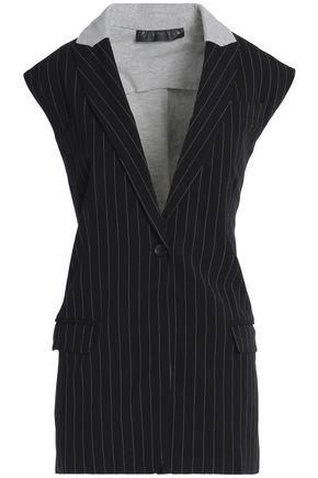 NORMA KAMALI Paneled pinstriped cady and jersey vest