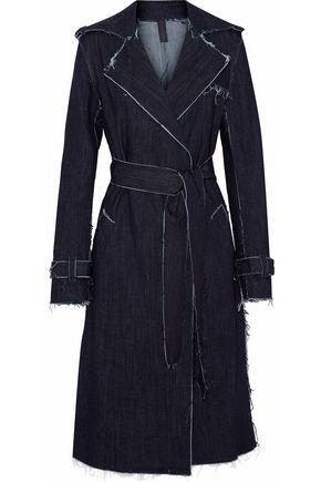 NORMA KAMALI Frayed denim trench coat