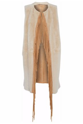YVES SALOMON Reversible fringe-trimmed suede and shearling vest