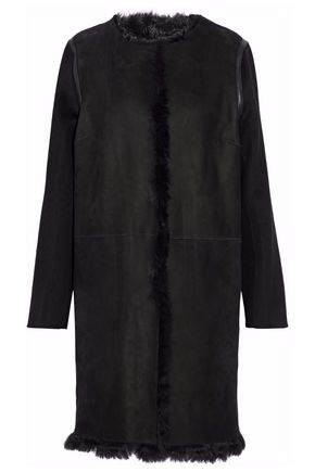 YVES SALOMON Shearling-paneled wool and cashmere-blend coat
