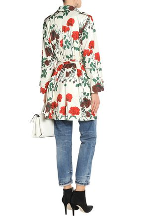 GANNI Floral-print shell trench coat