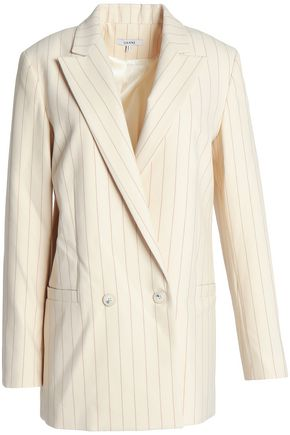 GANNI Double-breasted pinstriped cady blazer