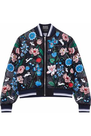 MARKUS LUPFER Embellished embroidered silk-organza bomber jacket