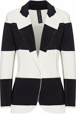 NORMA KAMALI Striped stretch-jersey blazer