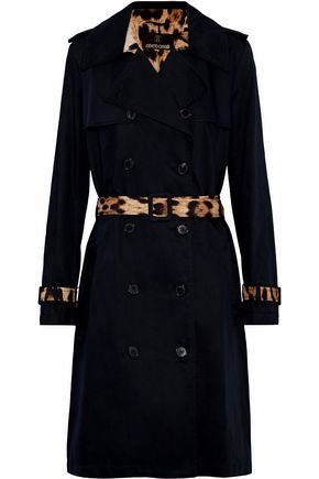 ROBERTO CAVALLI Leopard print-paneled cotton and linen-blend gabardine trench coat