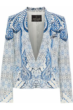 ROBERTO CAVALLI Cropped printed silk tuxedo jacket