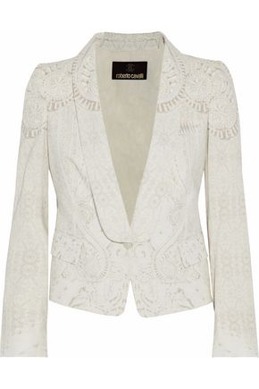 ROBERTO CAVALLI Printed cotton-blend tuxedo jacket