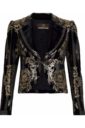 ROBERTO CAVALLI Metallic printed velvet blazer