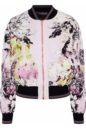 ROBERTO CAVALLI Floral-print cotton-blend bomber jacket