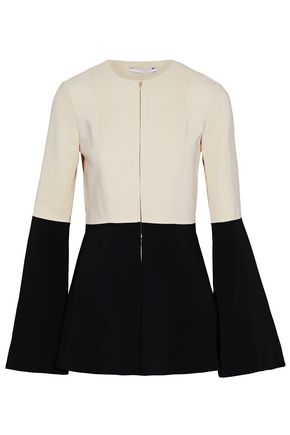 ROSETTA GETTY Fluted two-tone crepe jacket